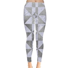 Triangle1 White Marble & Silver Paint Leggings  by trendistuff