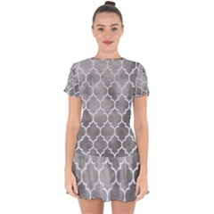 Tile1 White Marble & Silver Paint Drop Hem Mini Chiffon Dress by trendistuff