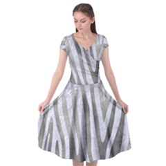 Skin4 White Marble & Silver Paint (r) Cap Sleeve Wrap Front Dress by trendistuff