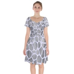 Skin1 White Marble & Silver Paint (r) Short Sleeve Bardot Dress by trendistuff