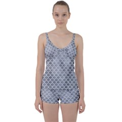 Scales1 White Marble & Silver Paint Tie Front Two Piece Tankini by trendistuff
