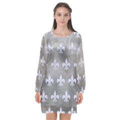 Royal1 White Marble & Silver Paint (r) Long Sleeve Chiffon Shift Dress  by trendistuff