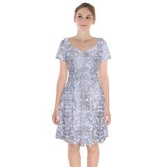 Damask2 White Marble & Silver Paint (r) Short Sleeve Bardot Dress