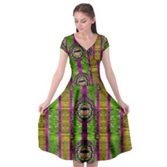 Sunset Love In The Rainbow Decorative Cap Sleeve Wrap Front Dress by pepitasart