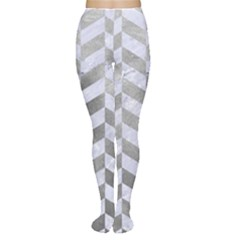 Chevron1 White Marble & Silver Paint Women s Tights by trendistuff