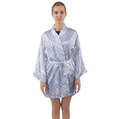 Woven2 White Marble & Silver Glitter (r) Long Sleeve Kimono Robe by trendistuff