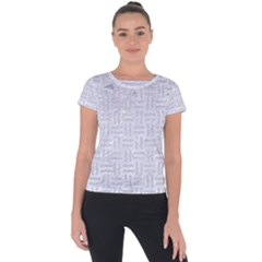 Woven1 White Marble & Silver Glitter (r) Short Sleeve Sports Top  by trendistuff