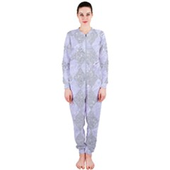Square2 White Marble & Silver Glitter Onepiece Jumpsuit (ladies)  by trendistuff
