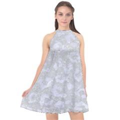 Skin5 White Marble & Silver Glitter (r) Halter Neckline Chiffon Dress  by trendistuff