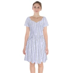 Skin4 White Marble & Silver Glitter Short Sleeve Bardot Dress by trendistuff