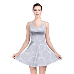 Skin1 White Marble & Silver Glitter (r) Reversible Skater Dress by trendistuff