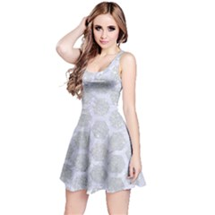 Hexagon2 White Marble & Silver Glitter Reversible Sleeveless Dress