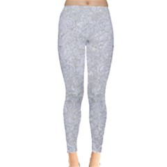 Damask2 White Marble & Silver Glitter Leggings  by trendistuff
