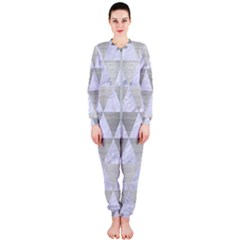 Triangle3 White Marble & Silver Brushed Metal Onepiece Jumpsuit (ladies)  by trendistuff