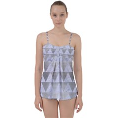 Triangle2 White Marble & Silver Brushed Metal Babydoll Tankini Set by trendistuff