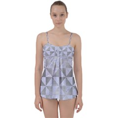 Triangle1 White Marble & Silver Brushed Metal Babydoll Tankini Set by trendistuff