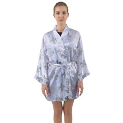 Royal1 White Marble & Silver Brushed Metal Long Sleeve Kimono Robe by trendistuff
