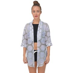 Hexagon2 White Marble & Silver Brushed Metal (r) Open Front Chiffon Kimono by trendistuff