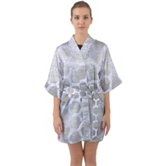 Hexagon2 White Marble & Silver Brushed Metal Quarter Sleeve Kimono Robe by trendistuff