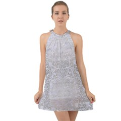 Damask2 White Marble & Silver Brushed Metal (r) Halter Tie Back Chiffon Dress by trendistuff