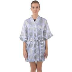 Circles1 White Marble & Silver Brushed Metal (r) Quarter Sleeve Kimono Robe by trendistuff