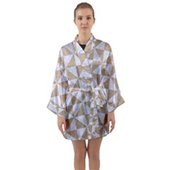 Triangle1 White Marble & Sand Long Sleeve Kimono Robe