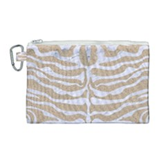 Skin2 White Marble & Sand Canvas Cosmetic Bag (large) by trendistuff