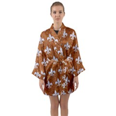 Royal1 White Marble & Rusted Metal (r) Long Sleeve Kimono Robe by trendistuff