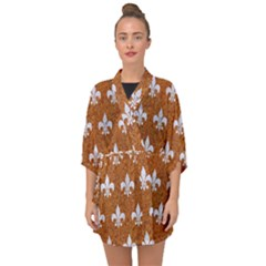 Royal1 White Marble & Rusted Metal (r) Half Sleeve Chiffon Kimono