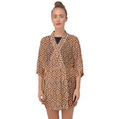 Hexagon1 White Marble & Rusted Metal Half Sleeve Chiffon Kimono by trendistuff