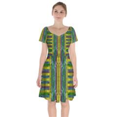 Summer Night After The Rain Decorative Short Sleeve Bardot Dress by pepitasart