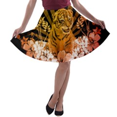Cute Little Tiger With Flowers A Line Skater Skirt by FantasyWorld7