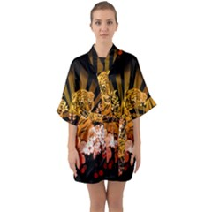 Cute Little Tiger With Flowers Quarter Sleeve Kimono Robe by FantasyWorld7
