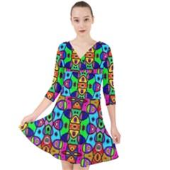 Artwork By Patrick Pattern 18 Quarter Sleeve Front Wrap Dress by ArtworkByPatrick