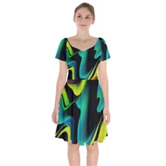 Hot Abstraction With Lines 4 Short Sleeve Bardot Dress by MoreColorsinLife