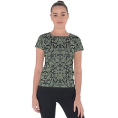 Camouflage Ornate Pattern Short Sleeve Sports Top  by dflcprints