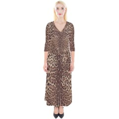 Leopard Print Quarter Sleeve Wrap Maxi Dress by CasaDiModa