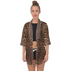 Leopard Print Open Front Chiffon Kimono