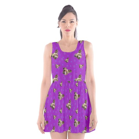 Yorkies In Purple Scoop Neck Skater Dress