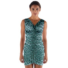 Turquoise Leopard Print Wrap Front Bodycon Dress by CasaDiModa