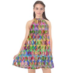 Peace Sign Halter Neckline Chiffon Dress  by ArtworkByPatrick