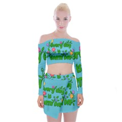 Earth Day Off Shoulder Top With Mini Skirt Set by Valentinaart