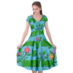Earth Day Cap Sleeve Wrap Front Dress by Valentinaart