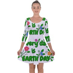 Earth Day Quarter Sleeve Skater Dress by Valentinaart