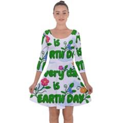 Earth Day Quarter Sleeve Skater Dress by Valentinaart