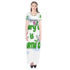 Earth Day Short Sleeve Maxi Dress by Valentinaart