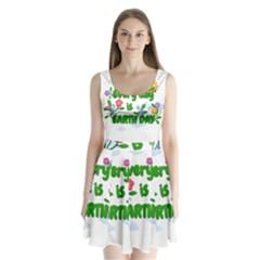 Earth Day Split Back Mini Dress  by Valentinaart
