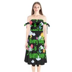 Earth Day Shoulder Tie Bardot Midi Dress by Valentinaart
