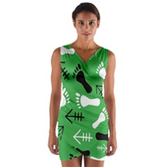 Green Wrap Front Bodycon Dress by HASHHAB