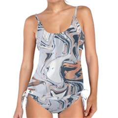 Liquid Gold And Navy Marble Tankini Set by goljakoff